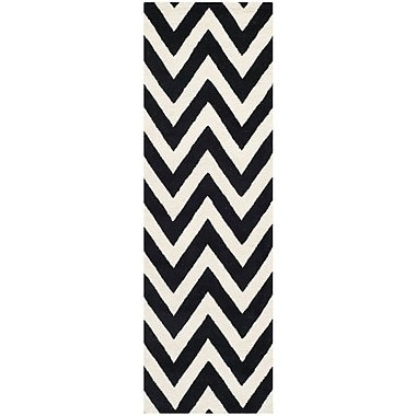 Ebern Designs Daveney Hand-Tufted Black/Ivory Area Rug; Runner 2'6'' x 14'