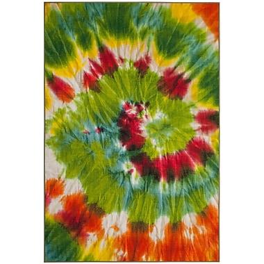 Ebern Designs Dawna Paint Brush Green/Orange Area Rug; 4' x 6'
