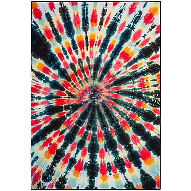 Ebern Designs Dawson Paint Brush Black/Coral Area Rug; 4' x 6'