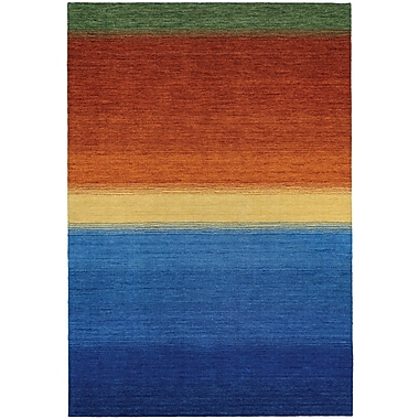 Ebern Designs Cora Ocean Sunset Hand-Woven Blue/Burnt Orange Area Rug; 5'6'' x 8'
