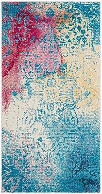 Ebern Designs Cienna Blue/Pink Area Rug; Square 6'7''