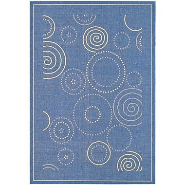 Ebern Designs Mullen Circle Blue & Natural Area Rug; 7'10'' x 11'