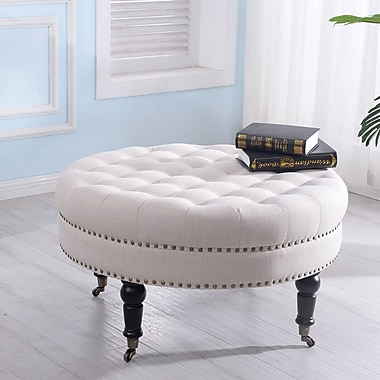 Darby Home Co Tusten Round Footstool Cocktail Ottoman; Beige