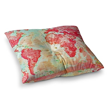 East Urban Home Oh the Places We'll Go World Map by Alison Coxon Floor Pillow; 23'' x 23''