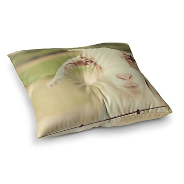 East Urban Home Happy Goat Smiling Animal by Angie Turner Floor Pillow; 26'' x 26''