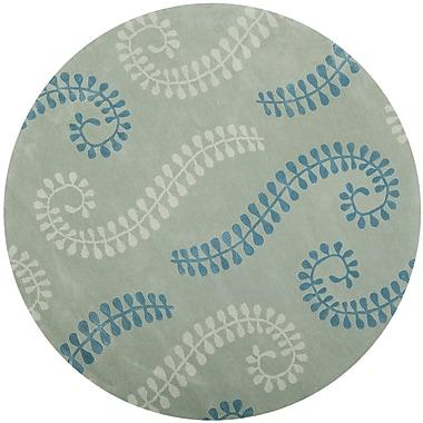 Latitude Run Andersen Silver / Light Blue Area Rug; Round 7'