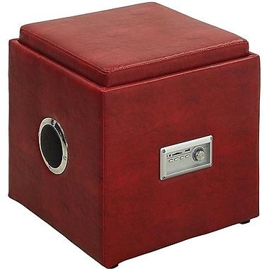 Latitude Run Waller Leather Speaker Ottoman; Red