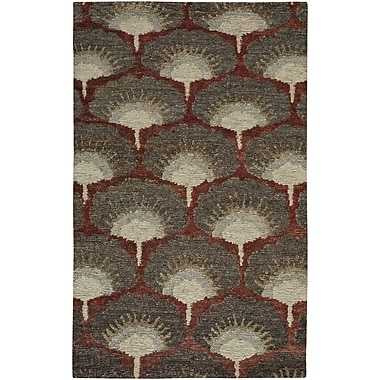 Bloomsbury Market Chappell Hand-Knotted Red/Gray Area Rug; 5' x 8'