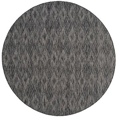 Varick Gallery Lefferts Black Indoor/Outdoor Area Rug; Round 6'7''