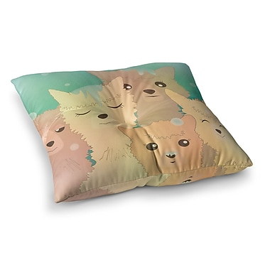 East Urban Home Alpacas in Snow Animals by Graphic Tabby Floor Pillow; 23'' x 23''