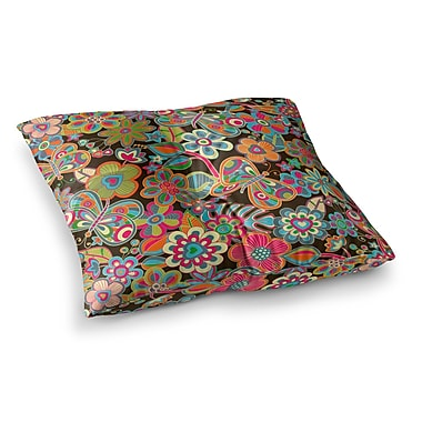 East Urban Home My Butterflies and Flowers by Julia Grifol Floor Pillow; 26'' x 26''