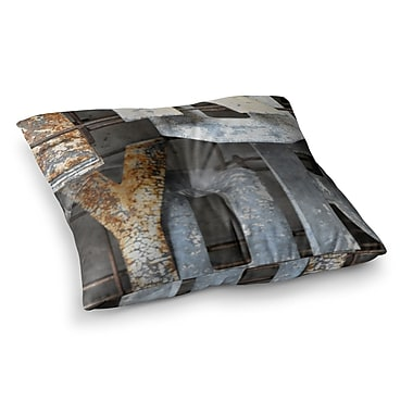 East Urban Home Patina Letters by Jennifer Rizzo Floor Pillow; 23'' x 23''