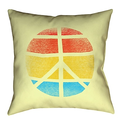 Latitude Run Jackie Peace Sign Cotton Throw pillow; 16'' H x 16'' W