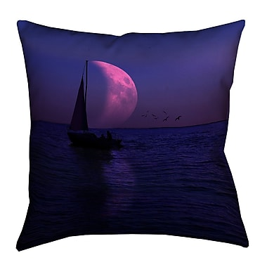 Latitude Run Jada Moon and Sailboat Suede Pillow Cover; 20'' H x 20'' W
