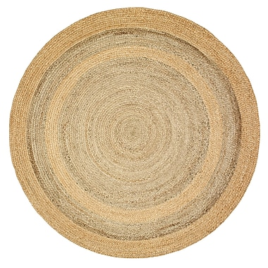 Gracie Oaks Roth Jute Hand-Woven Natural/Gray Area Rug; Round 4'