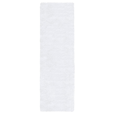 Gracie Oaks Lin Shag Hand-Tufted White Area Rug; Runner 2'6'' x 10'