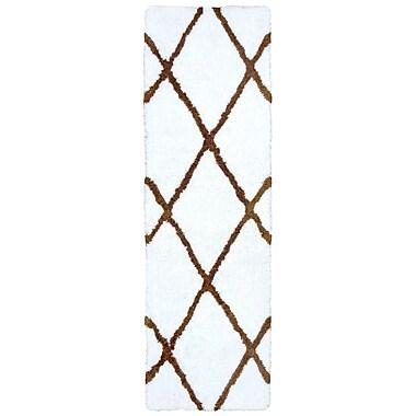 Gracie Oaks Lin Hand-Tufted White Area Rug; Runner 2'6'' x 8'