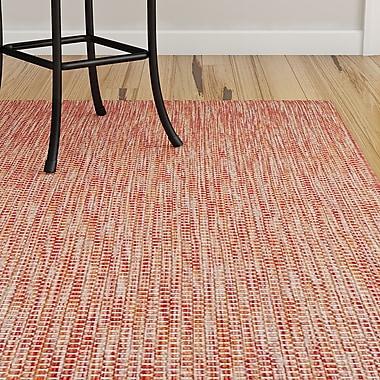 Ebern Designs Mullen Solid Red/Beige Indoor/Outdoor Area Rug; Rectangle 4' x 5'7''