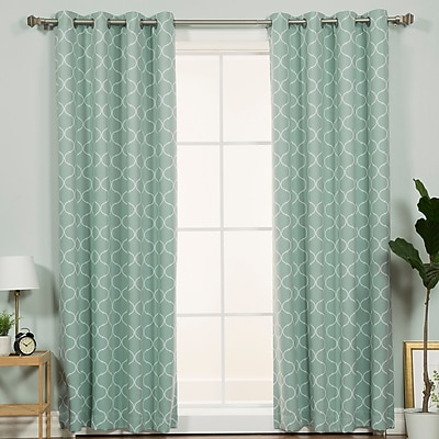 Darby Home Co Chatham Geometric Semi-Sheer Thermal Grommet Single Curtain Panel; Mint