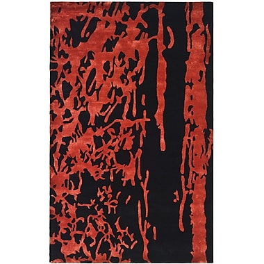Ebern Designs Chidi Black/Red Area Rug; 3'6'' x 5'6''
