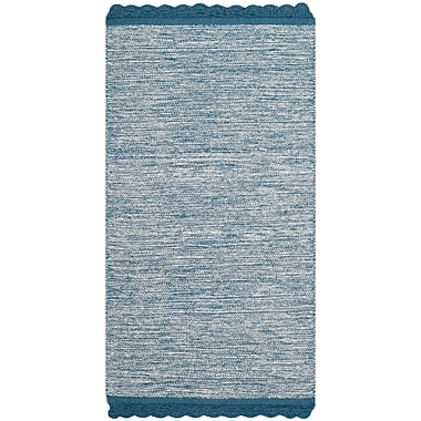 Gracie Oaks Mohnton Hand-Woven Blue/Gray Area Rug; Runner 2'3'' x 7'