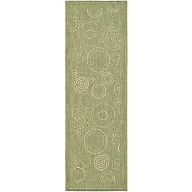 Ebern Designs Mullen Olive Outdoor Area Rug; Runner 2'4'' x 6'7''