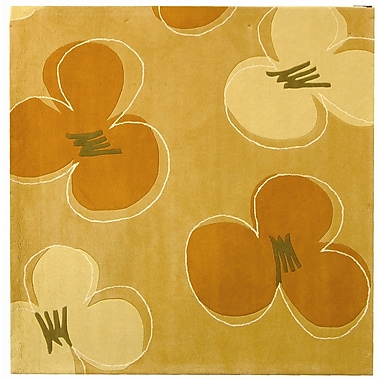 Ebern Designs Chidi Hand-Tufted Gold / Assorted Area Rug; Square 6'