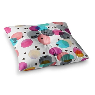 East Urban Home Festive Watercolor Dots by Crystal Walen Floor Pillow; 26'' x 26''