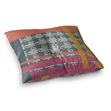 East Urban Home Houndstooth Color Block Contemporary by Pellerina Design Floor Pillow; 26'' x 26''
