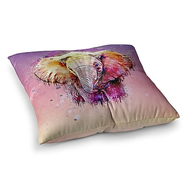 East Urban Home Watercolor Elephant Digital by Ancello Floor Pillow; 23'' x 23''