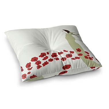 East Urban Home Poppy Field by Mayacoa Studio Floor Pillow; 23'' x 23''
