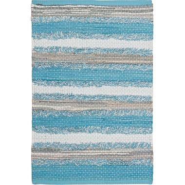 Gracie Oaks Monaca Hand-Woven Aqua/Gray Area Rug; Rectangle 5' x 8'