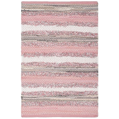 Gracie Oaks Monaca Hand-Woven Pink/Gray Area Rug; Rectangle 5' x 8'