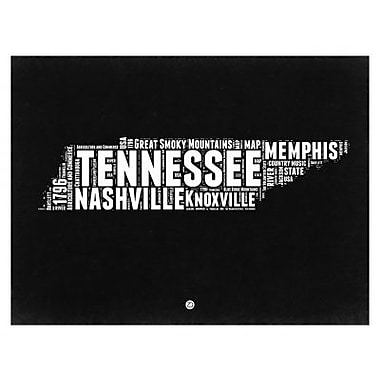 Naxart 'Tennessee Black and White Map' Framed Textual Art; 24'' H x 30'' W x 1.5'' D