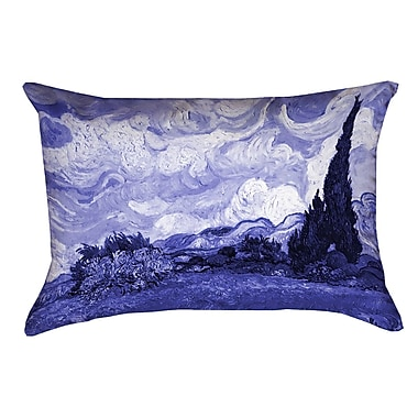 Red Barrel Studio Meredosia Wheat Field w/ Cypresses Rectangular Pillow Cover; Blue