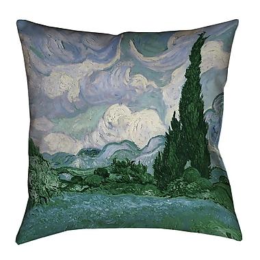 Red Barrel Studio Meredosia Wheat Field w/ Cypresses Euro Pillow; Blue/Green