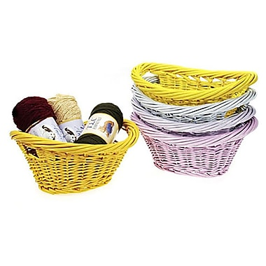Red Barrel Studio Willow Wicker Cutouts Handle Baskets; Light Pink