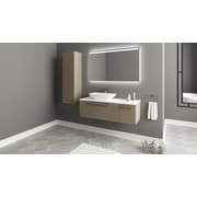 Orren Ellis Nico 48'' Single Bathroom Vanity Set w/ Metal Door Handle; Glossy Mocha