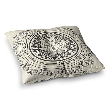 East Urban Home Boho Folk Mandala Digital by Famenxt Floor Pillow; 23'' x 23''