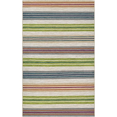 Ebern Designs Cordero Hand-Woven Sand/Blue/Green Indoor/Outdoor Area Rug; 8' x 10'