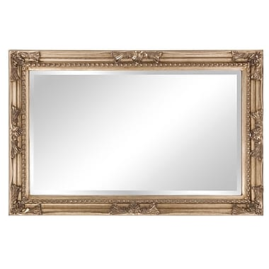 Astoria Grand Beveled Rectangle Wood Mirror; Antique Silver