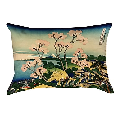 Bloomsbury Market Clair Fuji and Cherry Blossoms Suede Throw pillow; Light Pink/Blue