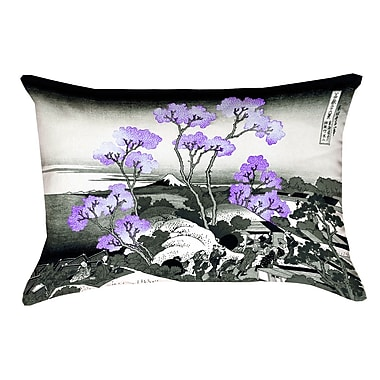 Bloomsbury Market Clair Fuji and Cherry Blossoms Cotton Throw pillow; Purple