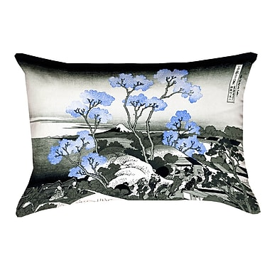Bloomsbury Market Clair Fuji and Cherry Blossoms Linen Throw pillow; Blue