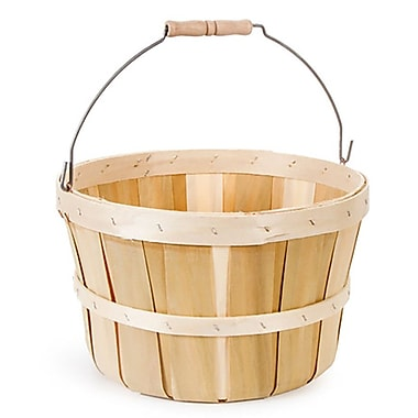 August Grove Round Chipwood and Wicker/Rattan Basket
