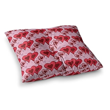 East Urban Home Scribbled Hearts Pattern Vector by Mydeas Floor Pillow; 26'' x 26''