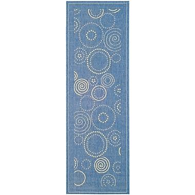 Ebern Designs Mullen Circle Blue & Natural Area Rug; Runner 2'4'' x 14'