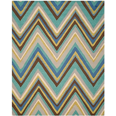 Ebern Designs Hayes Hand-Hooked Blue Indoor / Outdoor Area Rug; 8' x 10'