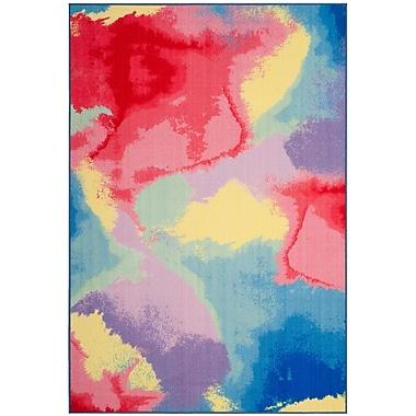 Ebern Designs Darline Paint Brush Fuchsia/Yellow Area Rug; 8' x 10'