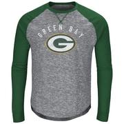 Majestic – T-shirt à manches longues raglan Corner Blitz des Packers de Green Bay, moyen